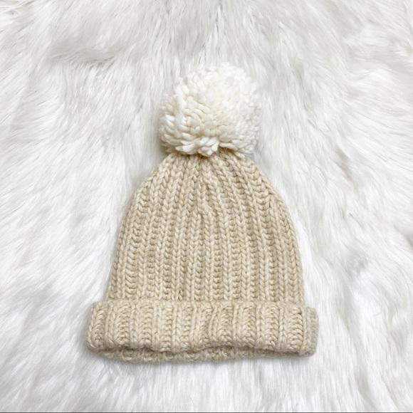 J Crew Knit Winter Hat Wool Cream